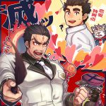 4boys aizen_(tokyo_houkago_summoners) anger_vein bara black_hair cat_boy character_request chest facial_mark forehead_mark furry gozu_farm male_focus master_3_(tokyo_houkago_summoners) multiple_boys muscle open_mouth red_eyes short_hair sweatdrop thick_eyebrows tokyo_houkago_summoners upper_body white_neckwear