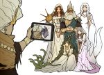 1other 2boys 4girls beard brown_hair cleavage_cutout clothing_cutout company_captain_yorshka crown dark_souls dark_souls_iii dark_sun_gwyndolin donar0217 facial_hair family filianore_(dark_souls) full_body gwyn_lord_of_cinder meme multiple_boys multiple_girls nameless_king priscilla_the_crossbreed queen_of_sunlight_gwynevere self_shot simple_background snake souls_(from_software) tablet_pc v veil white_background white_hair
