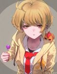 1girl :o ahoge animal_on_shoulder bangs blonde_hair bored candy chupa_chups close-up collarbone collared_shirt dededeteiu ear_piercing earrings eyebrows_visible_through_hair eyelashes food foreshortening from_above half-closed_eyes hamster harryham_harry highres holding holding_candy holding_food holding_lollipop hood hoodie hugtto!_precure jewelry kagayaki_homare l'avenir_academy_uniform lollipop looking_at_viewer looking_up loose_necktie necktie on_shoulder open_clothes open_hoodie open_mouth perspective piercing precure red_neckwear shirt short_hair twitter_username upper_body white_shirt yellow_eyes yellow_hoodie