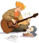 1boy acoustic_guitar barry_(pokemon) blonde_hair blush brown_footwear closed_mouth commentary_request fingernails gen_4_pokemon guitar holding holding_instrument instrument long_sleeves looking_down music musical_note omyo_(myomyomyo22) orange_shirt pants piplup playing_instrument pokemon pokemon_(creature) pokemon_(game) pokemon_dppt sheet_music shirt sitting sweatdrop white_background
