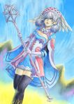 1girl black_legwear blue_eyes cape day dress feet_out_of_frame from_below gloves hat head_wings highres holding holding_staff lips melia_antiqua outdoors short_dress silver_hair sky solo staff standing thigh-highs vvbert white_gloves xenoblade_chronicles xenoblade_chronicles_(series)
