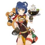 >_< 2girls :p absurdres blue_hair bowl braid chili_pepper china_dress chinese_clothes closed_eyes covered_navel dress food genshin_impact gouba_(genshin_impact) hh_101 highres licking_lips multiple_girls paimon_(genshin_impact) panda short_hair simple_background smile solo sparkling_eyes tears tongue tongue_out twin_braids white_background xiangling_(genshin_impact)