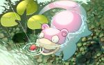 commentary_request day fang fishing_line gaa_(mesimori_gaa) gen_1_pokemon glint lily_pad no_humans open_mouth outdoors partially_submerged poke_ball poke_ball_(basic) pokemon pokemon_(creature) ripples slowpoke solo swimming tongue water