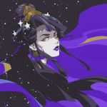 1girl black_hair braid commentary earrings french_braid from_side hades_(game) hair_bun hair_ornament highres jewelry lipstick long_hair looking_at_viewer looking_to_the_side makeup nekohara_peninsula nyx_(hades) pale_skin portrait purple_lips purple_lipstick solo space star_(symbol) star_hair_ornament yellow_eyes