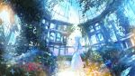 1girl absurdres architecture blue_hair bug butterfly closed_eyes creeper dome dress flower garden highres insect kenzo_093 original pillar ruins scenery sky solo standing sunlight white_dress