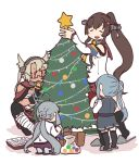 4girls ahoge belt betchan black_belt brown_eyes brown_hair cherry_blossoms christmas_lights christmas_ornaments christmas_tree collar dark_skin detached_sleeves dress flower glasses gloves grey_hair hair_flower hair_ornament hair_ribbon headgear kantai_collection kasumi_(kantai_collection) kiyoshimo_(kantai_collection) kneehighs low_twintails multiple_girls musashi_(kantai_collection) partly_fingerless_gloves pinafore_dress ponytail remodel_(kantai_collection) ribbon sarashi school_uniform semi-rimless_eyewear serafuku shirt side_ponytail slippers smile star_(symbol) twintails white_background white_shirt yamato_(kantai_collection) z_flag