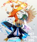 blaziken blue_eyes claws closed_mouth commentary_request decidueye empoleon fire gen_3_pokemon gen_4_pokemon gen_7_pokemon grey_background highres leaf number open_mouth pokemon pokemon_(creature) standing tongue water yellow_sclera ytot_335