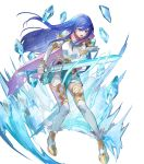 1girl ankle_boots armor bangs belt blue_eyes blue_hair boots breastplate caeda_(fire_emblem) cape closed_mouth dress elbow_gloves feather_trim fire_emblem fire_emblem:_mystery_of_the_emblem fire_emblem_heroes floating floating_object full_body gloves highres holding holding_sword holding_weapon ice long_hair looking_at_viewer looking_away multiple_belts official_art open_mouth pink_cape short_dress shoulder_armor solo sword thigh-highs transparent_background weapon white_legwear zettai_ryouiki