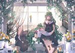 2girls absurdres barefoot bead_curtain bed black_choker black_dress book bookshelf chair chilcy35 choker day dress flower highres huge_filesize indoors long_hair lying multiple_girls on_stomach original pillow pillow_hug reading siblings sitting slippers twins vase very_long_hair violet_eyes window