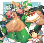 1boy bara bare_arms birthday birthday_cake black_hair bulge cake chest clenched_teeth closed_eyes covered_abs dark_skin dark_skinned_male english_text facial_hair feet_out_of_frame floral_background food fork fruit goatee gozu_farm green_hair jacket jacket_on_shoulders male_focus master_3_(tokyo_houkago_summoners) multicolored_hair muscle short_hair sideburns solo strawberry stuffed_toy taurus_mask teeth thick_thighs thighs tight tokyo_houkago_summoners two-tone_hair wrestling_mask wrestling_outfit