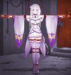 1girl absurdres bdsm bondage bound crucifixion emilia_(re:zero) highres re:zero_kara_hajimeru_isekai_seikatsu silver_hair solo violet_eyes