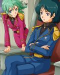 1boy 1girl aqua_hair belt blue_eyes blue_hair braid char's_counterattack crossed_arms gundam kamille_bidan military military_uniform pout quess_paraya short_hair sitting uniform watari_(inga_ouhou) what_if