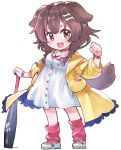 1girl animal_ears baseball_bat bone_hair_ornament bracelet braid brown_eyes brown_hair buttons cartoon_bone chibi collar commentary_request dog_collar dog_ears dog_girl dog_tail dress eyebrows_visible_through_hair fang hair_ornament hairclip hololive inugami_korone jacket jewelry long_hair looking_at_viewer loose_socks low_twin_braids paw_print red_collar red_legwear sakino_shingetsu shoes short_dress side_braids sneakers socks solo tail transparent_background twin_braids virtual_youtuber white_dress wristband yellow_jacket