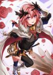1boy astolfo_(fate) bangs black_bow black_legwear blush bow braid cape fate/apocrypha fate/grand_order fate_(series) faulds fur-trimmed_cape fur_trim garter_straps gauntlets gloves hair_intakes higano_(ktnc7452) highres long_braid long_hair long_sleeves looking_at_viewer male_focus multicolored_hair open_mouth otoko_no_ko pink_hair single_braid smile solo streaked_hair thigh-highs violet_eyes white_cape