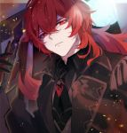 1boy antenna_hair bangs bear_nyanm black_gloves coat commentary_request diluc_(genshin_impact) frown genshin_impact gloves hair_between_eyes highres long_hair looking_at_viewer looking_down male_focus necktie parted_lips red_eyes redhead solo upper_body