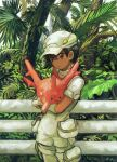 1girl aether_foundation_employee bangs black_hair brown_eyes closed_mouth commentary_request corsola dark_skin eyelashes fence foliage gen_2_pokemon gloves hat highres holding holding_pokemon looking_to_the_side minahamu palm_tree pokemon pokemon_(creature) pokemon_(game) pokemon_sm short_hair short_sleeves tree white_gloves white_headwear