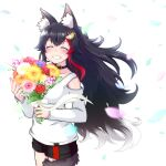 1girl animal_ears ashiga_oreta bangs black_hair black_shorts blush bouquet closed_eyes collar commentary_request eyebrows_visible_through_hair facing_viewer flower grin hair_between_eyes hair_ornament hairclip highres holding holding_bouquet hololive long_hair long_sleeves multicolored_hair ookami_mio petals redhead shirt short_shorts shorts sidelocks simple_background smile solo tail two-tone_hair virtual_youtuber white_background white_shirt wolf_ears wolf_girl wolf_tail