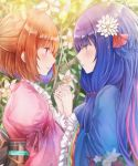 2girls blue_eyes blue_hair blue_kimono blush flower hair_flower hair_ornament hair_tie highres holding_hands japanese_clothes kimono lily_(flower) long_hair looking_at_another multicolored_hair multiple_girls namamake open_mouth orange_hair pink_hair pink_kimono plant purple_hair red_eyes setsuna_(shironeko_project) shironeko_project short_hair sidelocks standing tied_hair towa_(shironeko_project) twintails yuri