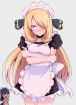 2girls alternate_costume apron arms_under_breasts black_dress blonde_hair blush blush_stickers breasts closed_mouth commentary_request cowboy_shot cynthia_(pokemon) dawn_(pokemon) dress enmaided eyelashes frills grey_eyes hair_ornament hair_over_one_eye highres kurachi_mizuki long_hair looking_away maid maid_apron maid_dress maid_headdress multiple_girls pokemon pokemon_(game) pokemon_dppt shiny shiny_hair short_sleeves sweat wavy_mouth