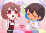 2others absurdres androgynous balloon cake chara_(undertale) closed_eyes food frisk_(undertale) highres knife multicolored_hair multiple_others nail_polish open_mouth red_eyes ribbon self_upload short_hair undertale watermark