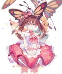 1girl absurdres bangs beautifly bow brown_hair buttons closed_mouth commentary crescent dj.adonis earrings frills gen_3_pokemon gen_4_pokemon grey_eyes hair_between_eyes hair_bow hand_up highres jewelry looking_at_viewer may_(pokemon) munchlax on_head pink_bow poke_ball poke_ball_(basic) pokemon pokemon_(anime) pokemon_(creature) pokemon_on_head pokemon_rse_(anime) skirt skitty tied_hair torchic white_background