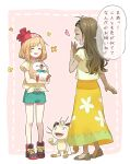 2girls alola_mother bangs beanie brown_hair closed_eyes commentary_request eyebrows_visible_through_hair eyelashes eyewear_on_headwear gen_1_pokemon gen_7_pokemon green_shorts hand_up hat heart holding holding_pokemon meowth mother_and_daughter multiple_girls pokemon pokemon_(creature) pokemon_(game) pokemon_sm red_headwear rowlet rupinesu sandals selene_(pokemon) shirt shoes short_sleeves shorts skirt smile standing sunglasses tied_shirt translation_request