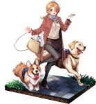 1girl animal artist_request bag bangs black_legwear blue_eyes blue_oath blush boots brown_coat brown_footwear brown_hair brown_skirt cellphone coat dog dog_walking grey_scarf hair_over_one_eye handbag highres holding holding_phone leash leg_up long_hair long_sleeves north_carolina_(blue_oath) official_art pantyhose phone scarf shopping_bag skirt smartphone tongue