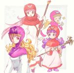 1girl blonde_hair blue_eyes dragon_quest dragon_quest_ii one_eye_closed pink_hair princess_of_moonbrook purple_hair red_eyes robe simple_background staff thumbs_up yuza