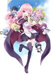 1boy 5girls blue_cape blue_legwear bolo_tie bouquet cape chibi flower henrietta_de_tristain hiraga_saito louise_francoise_le_blanc_de_la_valliere mary_janes multiple_girls official_art pentacle pentagram petals pink_hair shirt shoes siesta_(zero_no_tsukaima) tabitha_(zero_no_tsukaima) thigh-highs tiffania_westwood transparent_background usatsuka_eiji white_shirt zero_no_tsukaima zettai_ryouiki