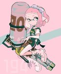 1girl apron artist_name bangs black_apron black_shorts blue_ribbon blunt_bangs boots closed_mouth commentary cross-laced_footwear domino_mask floating gym_shorts hair_ribbon holding holding_weapon hydra_splatling_(splatoon) imaikuy0 inkling inkling_(language) lace-up_boots looking_at_viewer mask no_socks pink_eyes pink_hair pointy_ears ribbon shirt short_hair short_shorts shorts single_vertical_stripe solo splatoon_(series) splatoon_2 straight-laced_footwear symbol_commentary t-shirt tentacle_hair weapon white_footwear white_shirt