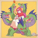 1boy dragon_quest dragon_quest_ii fantasy hydra long_hair monster pink_hair princess_of_moonbrook red_eyes robe simple_background sitting slime_(dragon_quest) staff yamata_no_orochi_(dragon_quest) yuza