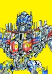 autobot blue_eyes close-up highres konachang looking_ahead mecha no_humans optimus_prime solo standing transformers transformers_(live_action) window yellow_background