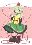 1girl asameshi black_footwear blush_stickers commentary frilled_sleeves frills full_body green_hair green_skirt hands_up komeiji_koishi no_hat no_headwear object_on_head pink_background raised_eyebrow shirt shoes short_hair skirt solo squiggle third_eye touhou wide_sleeves yellow_shirt