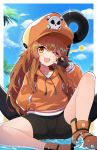 1girl absurdres anchor bangs black_gloves black_shorts blue_sky blush brown_eyes brown_hair collarbone day eyebrows_visible_through_hair fang fingerless_gloves frip gloves guilty_gear hand_in_pocket hat highres hood hoodie long_hair long_sleeves looking_at_viewer may_(guilty_gear) one_eye_closed open_mouth orange_headwear orange_hoodie outdoors shorts sitting skull_and_crossbones sky smile solo swept_bangs v v_over_eye water