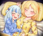 2girls blonde_hair blue_hair blush breasts eyebrows_visible_through_hair gawr_gura hair_ornament highres hololive hololive_english holomyth hug huge_breasts multiple_girls open_mouth pajamas sharp_teeth sleeping sleepover smile teeth virtual_youtuber watson_amelia