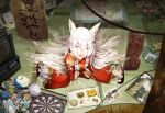 1girl :o animal_ears dartboard eyes_visible_through_hair food fox_ears hair_between_eyes hair_ornament hair_over_one_eye hairclip highres indoors japanese_clothes kimono long_hair looking_at_viewer map original puzzle red_kimono scenery shjjy296 sidelocks solo stuffed_animal stuffed_penguin stuffed_toy television toy very_long_hair white_hair