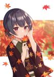 1girl absurdres autumn_leaves bangs black_hair blurry blurry_background blush closed_mouth commentary_request depth_of_field eyebrows_visible_through_hair flower hair_flower hair_ornament hands_up highres holding holding_leaf idolmaster idolmaster_shiny_colors japanese_clothes kimono leaf long_sleeves looking_at_viewer maple_leaf mochiko_(uyu_omochi) morino_rinze obi open_clothes red_eyes red_flower sash smile solo upper_body wide_sleeves