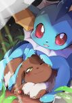 azuma_minatsu blush brown_fur closed_mouth commentary_request eevee foliage gen_1_pokemon leaf looking_at_viewer no_humans one_eye_closed paws pokemon pokemon_(creature) red_eyes smile vaporeon water_drop