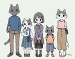 2boys 3girls :3 animal_focus ayu_(mog) backpack bag black_footwear black_hair black_legwear blue_jacket blue_neckwear blue_pants blue_sailor_collar blue_sweater blush bob_cut book brown_footwear brown_pants brown_skirt cat closed_mouth furry grey_background hair_ornament hairclip high_heels holding holding_book jacket loafers long_sleeves looking_at_viewer multiple_boys multiple_girls neck_ribbon neckerchief orange_footwear orange_shirt original pants personification pink_shirt pleated_skirt red_footwear red_neckwear red_ribbon ribbon sailor_collar school_uniform serafuku shirt shoes shoulder_bag signature simple_background skirt smile socks striped striped_skirt sweater v_arms white_legwear white_shirt