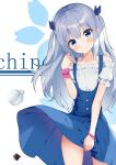 1girl absurdres artist_name ass_visible_through_thighs bangs bare_shoulders blue_dress blue_eyes blue_ribbon blush character_name closed_mouth coffee_beans commentary_request cup dress dress_lift eyebrows_visible_through_hair floral_background frilled_shirt frills gochuumon_wa_usagi_desu_ka? hair_between_eyes hair_ribbon hand_up head_tilt highres kafuu_chino long_hair off-shoulder_shirt off_shoulder puffy_short_sleeves puffy_sleeves ribbon shirt short_sleeves silver_hair sleeveless sleeveless_dress smile solo two_side_up very_long_hair white_background white_shirt wrist_cuffs yimiao
