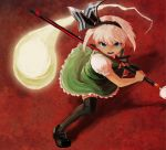 1girl ascot bangs black_footwear black_hairband black_legwear black_neckwear black_ribbon blue_eyes bob_cut collared_shirt commentary_request eyes fighting_stance frown full_body green_skirt green_vest hair_ribbon hairband hitodama holding holding_sheath holding_sword holding_weapon konpaku_youmu konpaku_youmu_(ghost) loafers looking_at_viewer puffy_short_sleeves puffy_sleeves rasetsu001 ready_to_draw red_background ribbon scabbard serious sheath sheathed shirt shoes short_hair short_sleeves skirt skirt_set solo spread_legs standing sword tassel thick_eyebrows thigh-highs touhou v-shaped_eyebrows vest weapon white_hair white_shirt zettai_ryouiki