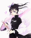 1girl black_hair black_jacket butterfly_hair_ornament candy1000 floating_hair hair_ornament highres holding holding_sheath holding_sword holding_weapon jacket kimetsu_no_yaiba long_hair long_sleeves military military_uniform nail_polish parted_lips pink_nails ponytail sheath shiny shiny_hair solo standing sword tsuyuri_kanao uniform unsheathing violet_eyes weapon