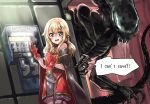 1girl alien alien_(movie) blonde_hair blush cape commission drooling english_text green_eyes highres hoshino_char kuroi_mimei looking_at_viewer open_mouth phone scared sharp_teeth skeb_commission speech_bubble teeth tsunderia virtual_youtuber xenomorph
