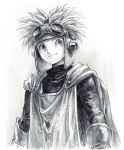 1boy cape dragon_quest dragon_quest_ii fantasy gloves goggles goggles_on_headwear greyscale male_focus monochrome prince_of_samantoria simple_background solo upper_body yuza