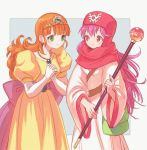 2girls bag dragon_quest dragon_quest_ii dress green_eyes hands_together jewelry long_hair multiple_girls necklace orange_hair pink_hair princess_laura princess_of_moonbrook puffy_short_sleeves puffy_sleeves robe satchel short_sleeves simple_background staff tiara wide_sleeves yuza