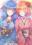 2girls absurdres blue_hair blush bob_cut breasts closed_eyes flower hair_flower hair_ornament hair_tie highres japanese_clothes kimono large_breasts long_hair medium_breasts multicolored_hair multiple_girls namamake open_mouth purple_hair red_flower setsuna_(shironeko_project) shironeko_project short_hair sidelocks sitting sleeping smile towa_(shironeko_project) twintails