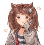 1girl :o angelina_(arknights) animal_ears arknights bangs black_choker brown_hair choker commentary extra_ears eyebrows_visible_through_hair fox_ears gloves grey_jacket hairband hand_up jacket long_hair long_sleeves looking_at_viewer open_clothes open_jacket open_mouth red_eyes red_hairband shirt simple_background solo teruryuu upper_body white_background
