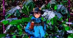 1girl animal_ears black_eyes bottle bright_pupils brown_hair forest hands_in_pocket harusameriburo hat highres looking_at_viewer nature original short_hair solo water_bottle white_pupils windbreaker
