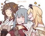 3girls ahoge arm_around_shoulder bare_shoulders betchan black_bow blonde_hair bow braid breasts brown_hair crown detached_sleeves double_bun dress facial_scar flower_(symbol) french_braid gangut_(kantai_collection) grey_hair hair_ornament hairband headgear japanese_clothes jewelry kantai_collection kongou_(kantai_collection) mini_crown multiple_girls necklace nontraditional_miko off-shoulder_dress off_shoulder open_mouth red_eyes red_shirt ribbon-trimmed_sleeves ribbon_trim scar scar_on_cheek shirt skirt smile star_(symbol) violet_eyes warspite_(kantai_collection)