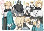 1girl 3boys black_hair black_scarf blood chopsticks eating fate/grand_order fate_(series) hakama haori hijikata_toshizou_(fate/grand_order) japanese_clothes katana kimono lunapont multiple_boys okita_souji_(fate) okita_souji_(fate)_(all) ponytail saitou_hajime_(fate) scarf seiza shinsengumi sitting sleeveless sleeveless_kimono smile sword weapon yamanami_keisuke_(fate)